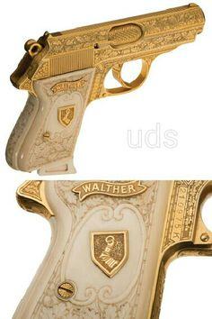 Walther PPK from Nazi Commander of the Luftwaffe, Herman Goring. Weapons Guns, Guns And Ammo, Pocket Pistol, Gun Art, Custom Guns, Fire Powers, Hunting Rifles, Cool Guns, Firearms
