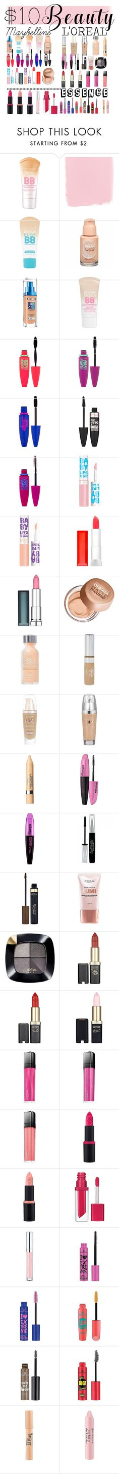 """""""10 $ Beauty"""" by danchaa ❤ liked on Polyvore featuring beauty, Maybelline, L'Oréal Paris, Anrealage and Essence"""