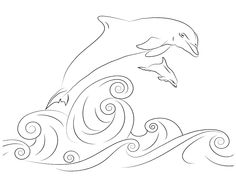 Dibujo para colorear de delfines (nº 12)