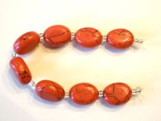 Red Stone Flat Oval 18 x 15mm Beads by CathyMcKeighanDesign on Etsy