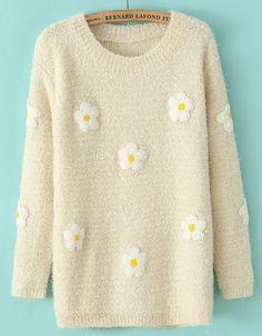 Jersey suelto aplique flor manga larga-Beige EUR€25.53