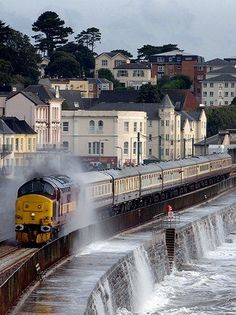 Ride the South Dawlish Railroad in Devon England . Experience - Waves crashing over the train, whoa! Train Tracks, Train Rides, The Places Youll Go, Places To See, Scary Places, Us Travel, Places To Travel, Train Miniature, Trains
