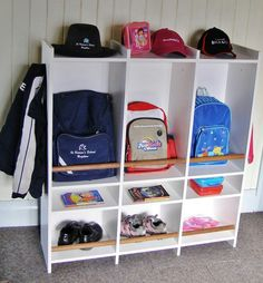 9 Cute and Clever School Bag Storage Ideas - Great information, tips, crafts and recipes for School Mums. : 9 Cute and Clever School Bag Storage Ideas - Great information, tips, crafts and recipes for School Mums.