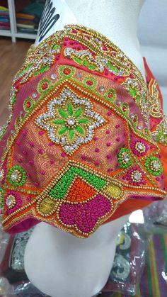 The Bridal Boutique in Chennai - Designer bridal boutique & Tailoring Choli Blouse Design, Sari Blouse Designs, Bridal Blouse Designs, Embroidery Motifs, Embroidery Dress, Aari Work Blouse, Fancy Blouse Designs, Boutique Design, Embroidered Blouse