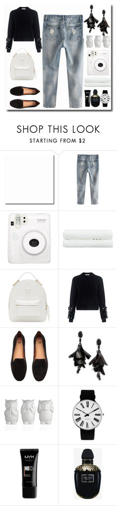 """""""Black and white"""" by dobrescu-dana ❤ liked on Polyvore featuring Fuji, Linum Home Textiles, Versace, McQ by Alexander McQueen, Oscar de la Renta, Rosendahl, NYX and Alexander McQueen"""