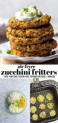 These crispy air fryer zucchini fritters are quick and easy to make and come out crispy and delicious in no time at all in your air fryer. A delicious low carb snack, side dish or lunch and the perfect way to use up your summer garden veggies. Gluten free, grain free and options for paleo, dairy free and Whole30. Quick and simple to make ahead and completely freezer-friendly. #zucchini #keto #zucchinifritters #lowcarb #airfryer