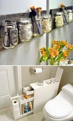 Small Space Interior Design, Interior Design Living Room, Living Room Decor, Diy Bathroom Decor, Small Bathroom, Kitchen Decor, Kitchen Storage Solutions, Diy Kitchen Storage, Toilet Storage