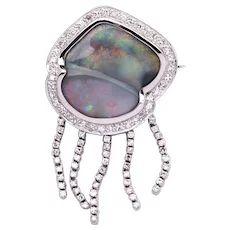 Solid Black Opal Brooch / Pendant in 18k White Gold with Diamonds - Jelly Fish Lightning Ridge, Black Opal, Jellyfish, Solid Black, Gemstone Rings, White Gold, Bling, Brooch, Gemstones