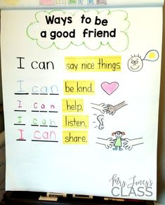 Ways to be a good friend anchor chart-- This unit is perfect for the beginning of the year in Kinder! ways to be helpful Kindergarten Anchor Charts, Kindergarten Social Studies, Kindergarten Writing, Kindergarten Classroom, Morning Message Kindergarten, Literacy, Reggio Classroom, Classroom Behavior, Social Emotional Learning