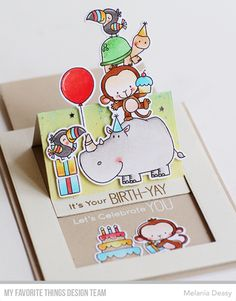 I want to share my card for My Favorite Things June The Birthday Project. While some surprises are less-than-welcome, a birthday . Slider Cards, Spellbinders Cards, Interactive Cards, Shaped Cards, Fancy Fold Cards, Card Making Techniques, Kids Cards, Cute Cards, Anniversary Cards