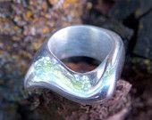 Silver lost wax cast one of a kind ring with a wavey design size 6 1/2