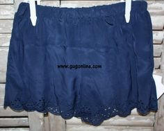 Short and Sweet Scalloped Shorts in Navy $24.95 www.gugonline.com