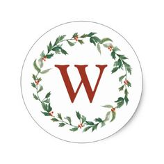 Christmas Wreath & Monogram Initial Envelope Seal - minimal gifts style template diy unique personalize design