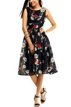 $26.00 Attractive Women's Chiffon Floral Print Flare Dress