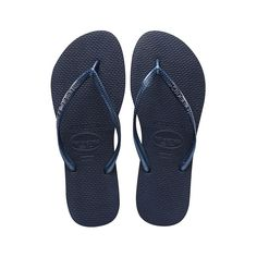4046f63e31e602 The Havaiana Slim features a sleek metallic strap and Havaianas logo with  their signature textured footbed that provides style and comfort.
