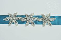 Brautgürtel - Brautgürtel Satingürtel Strass Blumen Blau Petrol - ein Designerstück von Princess_Mimi bei DaWanda