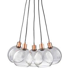 Lámpara de techo con 5 bombillas de cristal y metal cobrizo CELIA