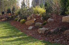 Backyard landscaping sloped yard hilly 20 ideas for 2019 Backyard Hill Landscaping, Landscaping With Boulders, Landscaping Ideas, Patio Ideas, Backyard Ideas, Sloped Yard, Sloped Backyard, Landscape Design, Garden Design