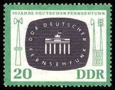 Sello conmemorativo por los 10 años de la radiodifusión de la televisión alemana.