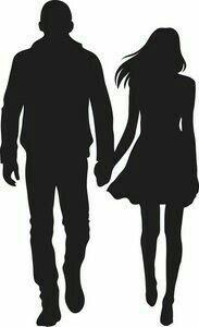 Silhouette Couple, Man And Woman Silhouette, Silhouette Painting, Silhouette Clip Art, Girl Silhouette, Filles Se Tenant La Main, Vogel Silhouette, Couple Clipart, Kid Spaces