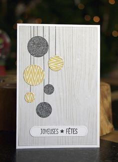 handmade Christmas car from France . non-taditional gray and yellow colors . circle baubles hanging on silver string . Diy Christmas Cards, Easy Christmas Crafts, Xmas Cards, Diy Cards, Handmade Christmas, Greeting Cards, Scrapbook Supplies, Scrapbooking Layouts, Homemade Cards