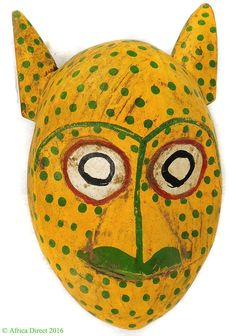 Bozo Mask Yellow Spotted With Ears Mali Africa ART   eBay