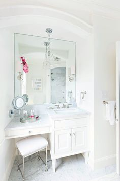 Gray Bath Vanity With Lucite Stool Transitional