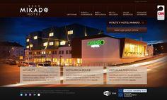 Grafické spracovanie webstránky hotela Mikado. Web Design, Mansions, House Styles, Business, Red, Design Web, Manor Houses, Villas, Mansion