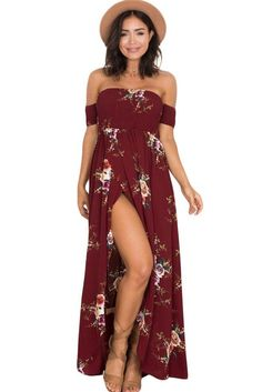 Smoked Off The Shoulder Burgundy Floral Maxi Dress MB61553-3 – ModeShe.com