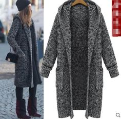 Women's Long Hooded Thicken Knitted Cardigan Straight Coats Parka Jackets Z5Tre