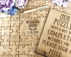 Are you searching for wedding ideas which are laser designs made from wood? Unique decor for weddings and styling that will suit those looking for an eco or rustic theme. Wooden Wedding Guest Book, Wood Guest Book, Guest Book Sign, Wedding Book, Wedding Humor, Puzzle Wedding, Wedding Advice, Diy Wedding, Wedding Planning