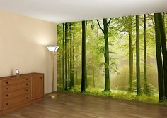 If you had a mural like that on your wall, would you ever want to leave your bedroom? #murals #forestmural #bedroomart