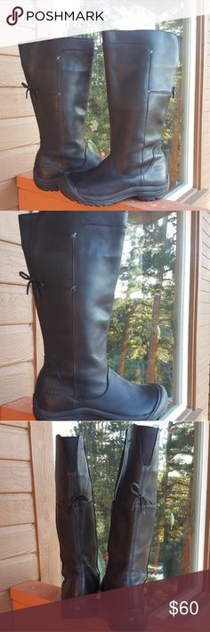 Keen leather waterproof boots Black leather boots. Lightly used. Great condition. From bottom of boot to the top is approximately 15.5 inches. Calf circumference measured from around the top of boot is approximately 16 inches. Keen Shoes Winter & Rain Boots