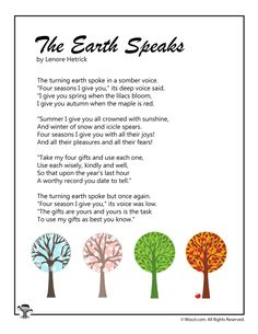 The Earth Speaks Poem for Children Nature Poems For Kids, Best Poems For Kids, Hindi Poems For Kids, Poetry For Kids, Kids Poems, Mother Earth Poem, Earth Day Poems, Mother Poems, Save Earth Poem