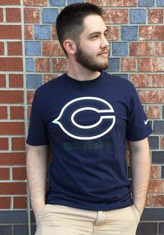 Nike Chicago Bears Navy Blue Travel Short Sleeve T Shirt - 12551108 Chicago Bears T Shirts, Nfl Chicago Bears, Chicago Pd, Chicago Skyline, Chicago Fire, Chicago Tattoo, Bear T Shirt, Aesthetic Vintage, Aesthetic Girl
