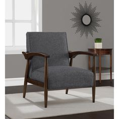 $215 Give your home a refined retro style with the Gracie arm chair. You'll love the rich granite upholstery and gracefully bold walnut finished frame.