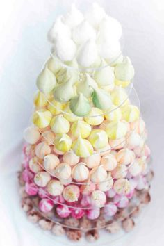 Colorful Pastel Meringue Girls meringues in tall glass truffle bowl for wedding receptions