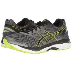 ASICS Gel-Cumulus 18 (Carbon/Black/Safety Yellow) Men's Running Shoes ($95) ❤ liked on Polyvore featuring men's fashion, men's shoes, men's athletic shoes, mens black shoes, mens athletic shoes, mens running shoes, mens breathable shoes and yellow mens shoes