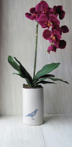Ceramic Orchid Pot  Cloud Vase White with Blackbird by jillzeidler, $79.00