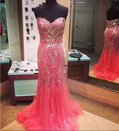 Mermaid Tulle Prom Dresses Crystals Beaded Floor Length Long Party Dresses…
