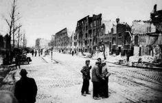 Rotterdam - Schiedamseweg. Het NIET vergeten bombardement, 31 maart 1943. Dit was een verkeerde planning van de Engelse luchtmacht.
