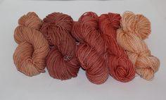 Madder dyed skeins ... great color range ... lovely blog on natural dyes