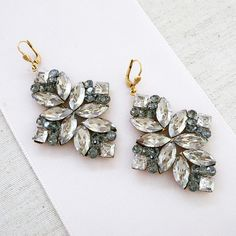 La Vie Parisienne Large Crystal Chandelier Earrings, Clear, Black Diamond designed by Catherine Popesco at Perfect Details