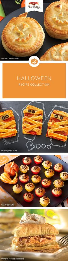 Scare up some fun with these spook-tacular Puff Pastry #Halloween recipes. Party guests will have a frighteningly good time devouring Wicked Dessert Puffs, kids will love Mummy Pizzas before trick-or-treating and don't miss the recipe for Candy Bar Puffs (perfect for those leftover bags of candy!) #cbloggers #diy #halloweenfun #halloweentreat