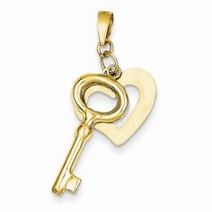 14k Yellow Gold Polished Heart and Key Pendant