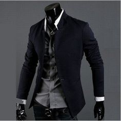 Edgy, yet, classic. the single button puts me on edge because of the slim(ness) of the outfit, but I i do enjoy it. Free Shipping 2012 New Fashion Stylish Men's Suit, Men's Blazer, Business Suit, Formal Suit, Color: Black,Gray,Navy Size: M-XXL