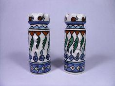 Vintage Jerusalem Armenian Ceramic Hand Painted Pottery Salt Pepper Shaker Set