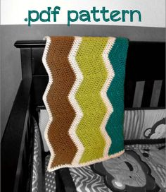 Crochet Ripple Baby Afghan Blanket PDF Pattern by JustKeepStitching2, $3.95