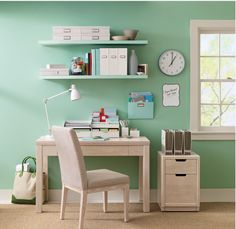 Office Office Design What a beautiful Home Office with sea-foam green walls! built ins, tv, fireplace Home Office Design Ideas, Pictures, Re. Martha Stewart Office, Martha Stewart Home, Design Ikea, Design Desk, Home Office Organization, Organized Office, Organizing Ideas, Office Storage, Desk Storage