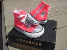 Pink sparkled Converse high tops